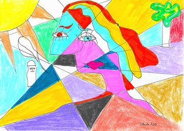Gekleurde vrouw van Johann Bucher