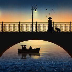Romantische Begegnung beim Fluß im Sonnenuntergang von Monika Jüngling