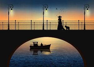 Romantische vergadering door de rivier in de zonsondergang