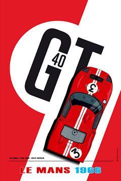 Ford GT40 Dan Gurney, Jerry Grant van Theodor Decker