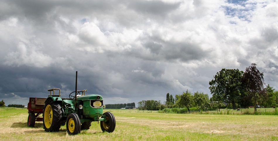 Tractor in een weiland in Maassluis; panorama