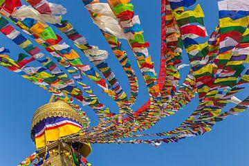 Kleurrijke vlaggetjes aan een boeddhistische tempel in Kathmandu, Nepal van Marc Venema