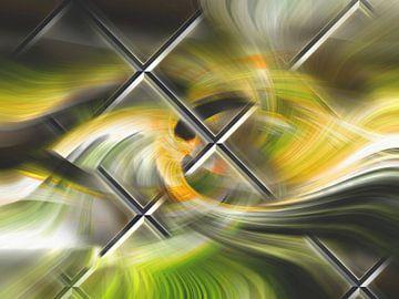 Abstract vlechtwerk met groen en zwart van Rietje Bulthuis