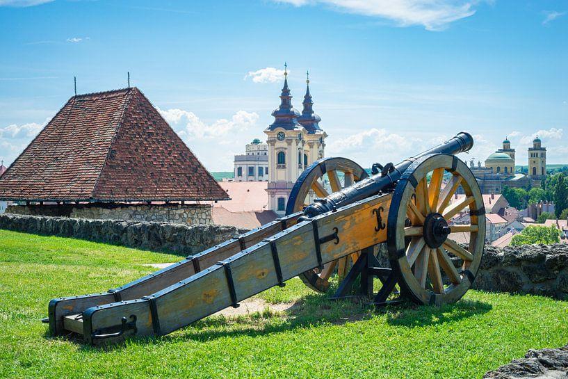 Kanone auf der Mauer der Burg von Eger, Ungarn von Menno van der Haven