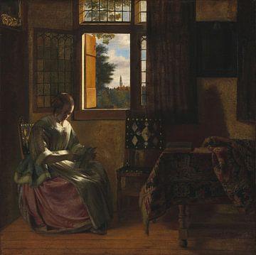 Eine Frau, die einen Brief am Fenster liest, Pieter de Hooch