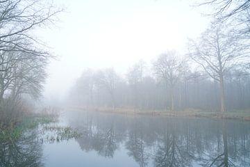 Neblige Landschaft mit See und Wald von Herman Peters