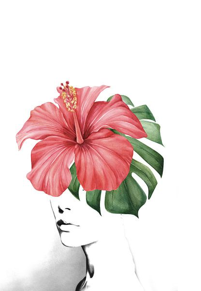 Hibiscus portrait van Dreamy Faces