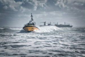 (Belgisch) Lotsenboot im Sturm von Evert Jan Looise