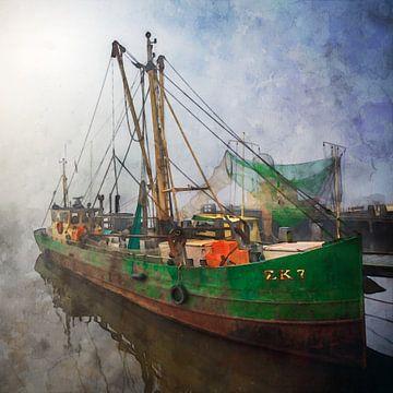 Aquarell Fischerboot Zoutkamp im Nebel von Peter Bolman