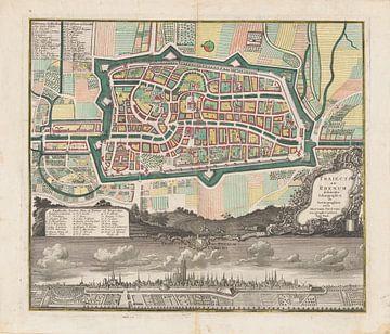 Stadtplan der Stadt Utrecht mit Stadtansicht, anonym, 1731 - 1740