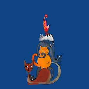 Schilderij van zes katten van