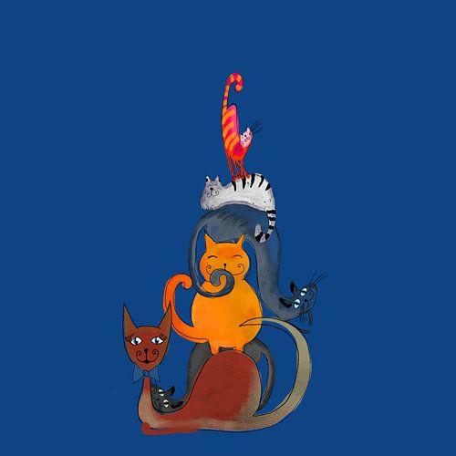 Schilderij van zes katten van Nicole Roozendaal