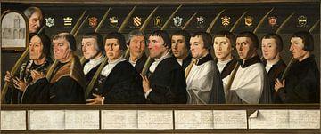 Douze membres de la Fraternité des pèlerins de Jérusalem de Haarlem, Jan van Scorel sur