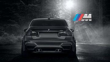BMW M3 sportscar en gris avec le logo M sur Atelier Liesjes