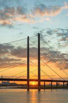 Rheinkniebrücke Düsseldorf au coucher du soleil sur Michael Valjak