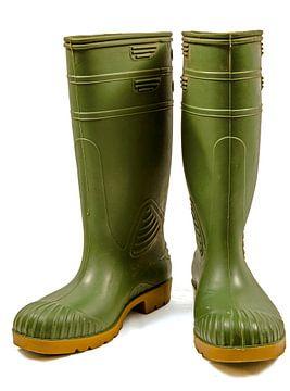 Groene rubber laarzen tegen een witte achtergrond van Gert Bunt