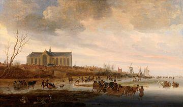Grote of Sint-Laurenskerk vanuit het noorden in de winter, Salomon van Ruysdael