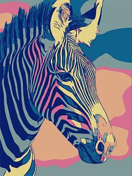 Zebra liefde, in pastel kleuren en popart stijl van The Art Kroep
