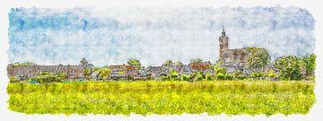 Skyline Burgh mit der reformierten Kirche (Panorama, Aquarell) von Art by Jeronimo