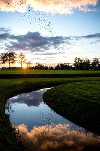Zonsondergang met reflectie in Culemborg