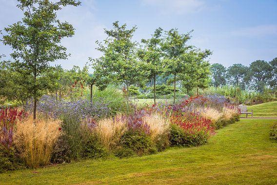 engelse tuin met gras en borders