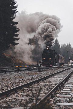 De stoomlocomotief van de Brockenbahn van Marc-Sven Kirsch