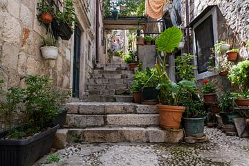 Steeg met trappen in Dubrovnik van Daan Kloeg