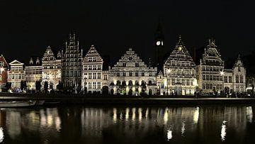 Graslei à Gand de nuit