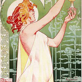 Oude poster met reclame voor het drankje met alcohol, Absint; Gezien bij FLINDERS van Atelier Liesjes