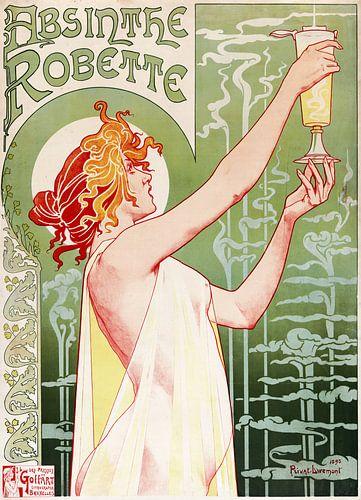 Oude poster met reclame voor het drankje met alcohol, Absint van Gerrie Tollenaar