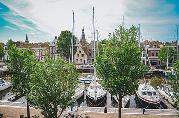 Uitzicht op de Noorderhaven in Harlingen, Friesland van Daphne Groeneveld