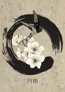 Ensō met zwaluw en kersenbloesem van Lucia