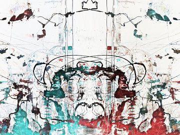 Modernes, abstraktes digitales Kunstwerk in Blau, Rot, Weiß von Art By Dominic
