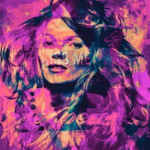 Kate Moss Kiss me Collage Pop Art