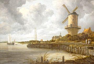 De toren molen  van Salomon van Ruysdael (1602 - 1670)  bij Wijk bij Duurstede in Nederland van Nisangha Masselink
