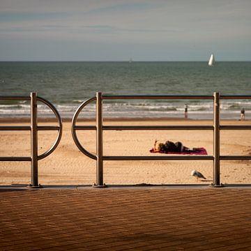 Zomer aan het strand in Belgie van Rene  den Engelsman