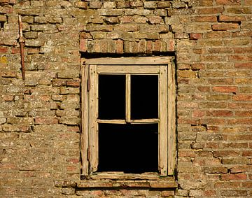 Oud vervallen raam van Martine Moens
