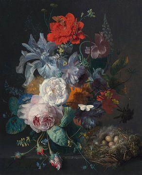 Bloemstilleven in een glazen vaas met een vogelnest op een stenen plint,  Jan van Huijsum