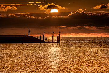 Zonsondergang boven de haven van Harlingen, Friesland. van Harrie Muis