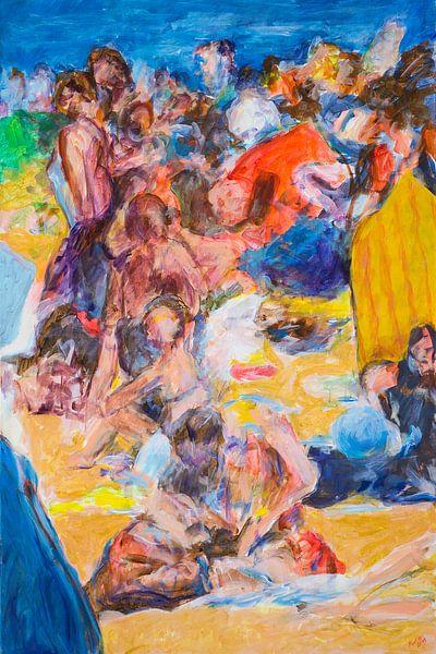 Strand met badgasten 1 van Paul Nieuwendijk