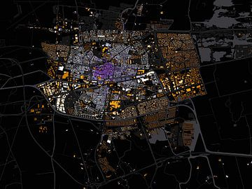 Kaart van Leeuwarden abstract sur Stef Verdonk