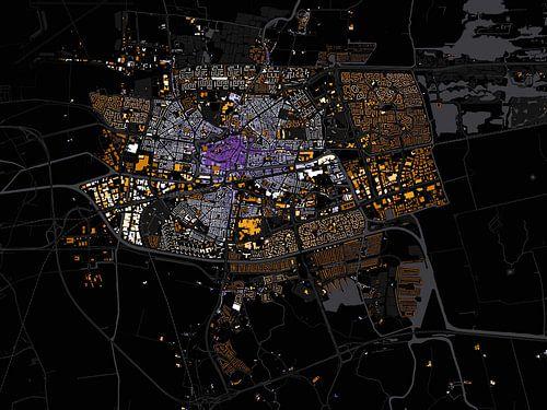 Kaart van Leeuwarden abstract von Stef Verdonk