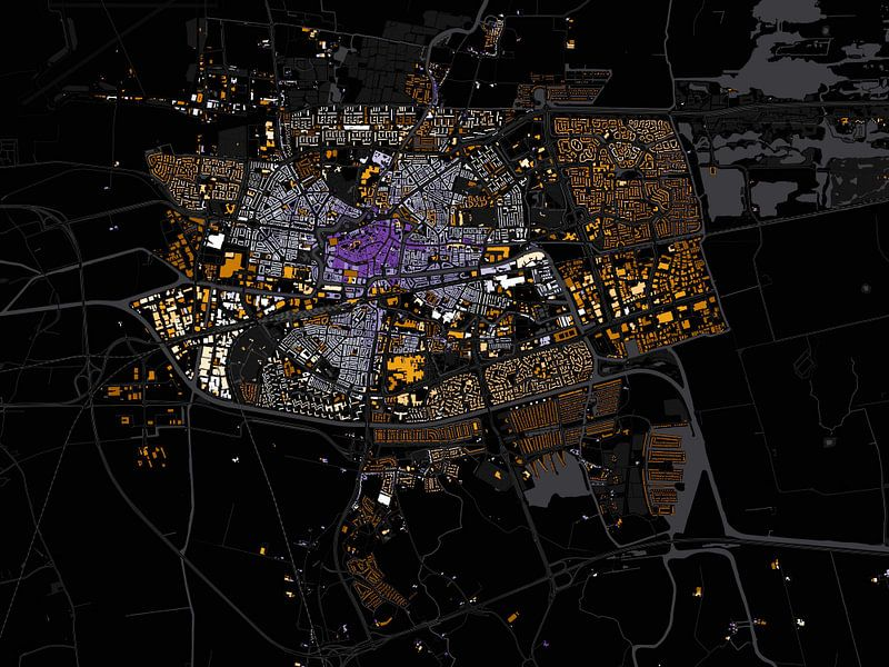 Kaart van Leeuwarden abstract van Stef Verdonk