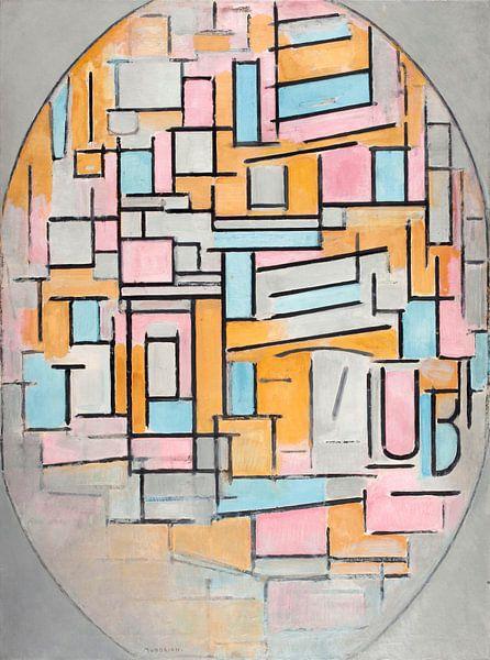 Piet Mondriaan. Compositie in ovaal met kleurvlakken van 1000 Schilderijen