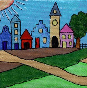 Minicanvas Het dorp van Angelique van 't Riet