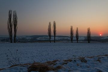 Een winterse zonsondergang von Maurice Hertog