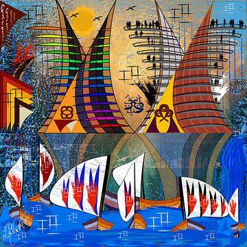 Moderne und abstrakte digitale Arbeit von geometrischen Formen von EL QOCH