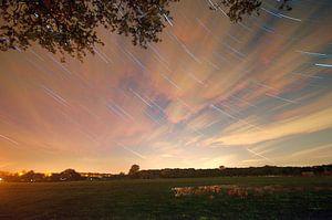 Nederlands landschap van sterrenspoor Scherpenzeel, Nederland