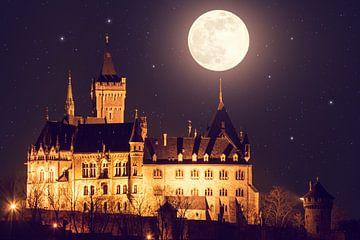 Schloss Wernigerode und Vollmond von Oliver Henze