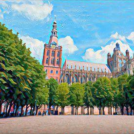 Stijlvol schilderij Den Bosch: Sint-Janskathedraal in de zomer van Slimme Kunst.nl